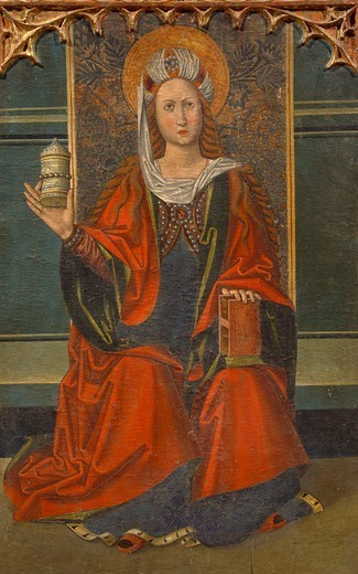 Stock Photo: 1788-51111 Mary Magdalene on the throne while holding a jar of perfumed ointment, detail from the Altarpiece of Mary Magdalene, by an unknown Aragonese artist (late 15th century).