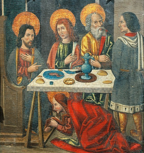 Stock Photo: 1788-51112 Lunch in the house of Simon the Pharisee with Mary Magdalene drying Jesus' feet with her hair, detail from the Altarpiece of Mary Magdalene, late 15th century, an unknown Aragonese artist.