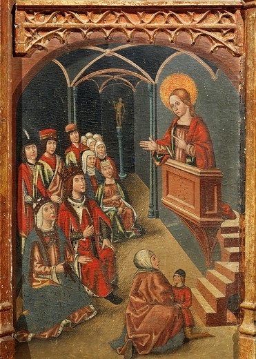 Stock Photo: 1788-51113 Mary Magdalene preaching before the princes, detail from the Altarpiece of Mary Magdalene, by an unknown Aragonese artist (late 15th century).