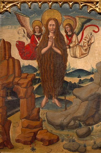 Stock Photo: 1788-51115 Mary Magdalene's ascension into heaven, detail from the Altarpiece of Mary Magdalene, by an unknown Aragonese artist (late 15th century).