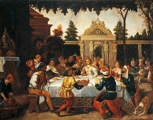 Isaac and Rebecca's wedding feast, by an artist from the Pedro Orrente school (1580-ca 1645). : Stock Photo