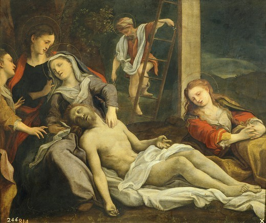Stock Photo: 1788-51118 Lamentation over the Dead Christ, ca 1524, by Antonio Allegri, known as Correggio (1489-ca 1534), oil.