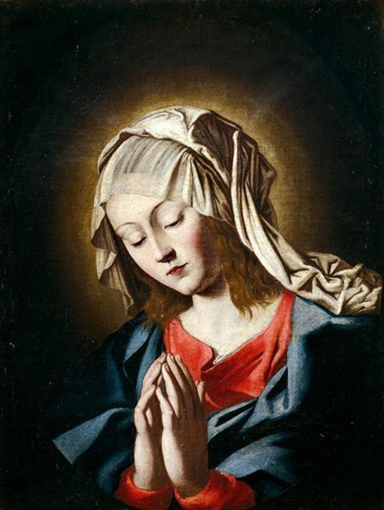 Virgin in prayer, by Giovanni Battista Salvi da Sassoferrato (1609-1685). : Stock Photo