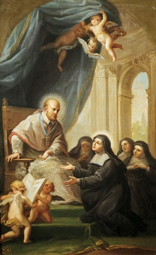 Stock Photo: 1788-51121 St Francis de Sales gives Jeanne Francoise de Chantal the constitution of the order of the Visitation, by Francisco Bayeu (1734-1795).
