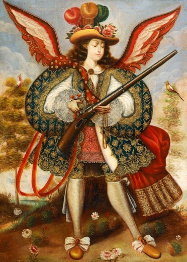 Stock Photo: 1788-51122 Warrior angel, 18th century, by an artist of the Cuzco school.