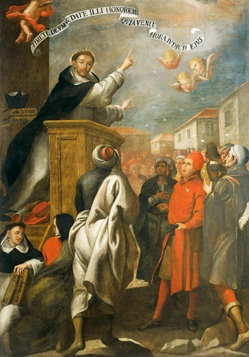 St Vincent Ferrer preaching to the young people of Salamanca, by Alonso Antonio Villamor (1661-1729). : Stock Photo