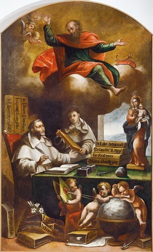 St Paul appears to St Albert the Great and St Thomas of Aquinas, by Alonso Antonio Villamor (1661-1729). Convent of San Esteban, Salamanca. : Stock Photo