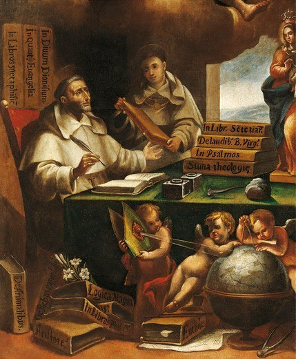 St Albert the Great and St Thomas of Aquinas, detail, St Paul appears to St Albert the Great and St Thomas of Aquinas, by Alonso Antonio Villamor (1661-1729) . Convent of San Esteban, Salamanca. : Stock Photo
