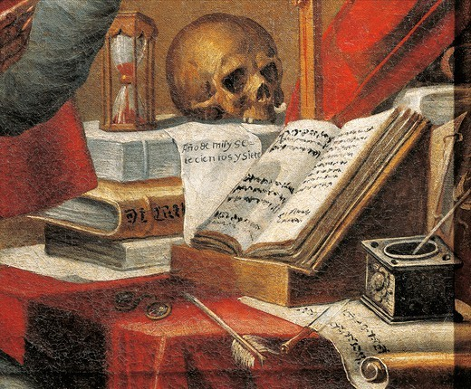 The manuscripts of St Jerome: the vulgate, painting attributed to Alonso Antonio Villamor (1661-1729). Detail. : Stock Photo
