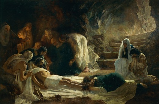 Stock Photo: 1788-51128 Burial of Jesus Christ, 1895, by Vidal Gonzalez Arenal.