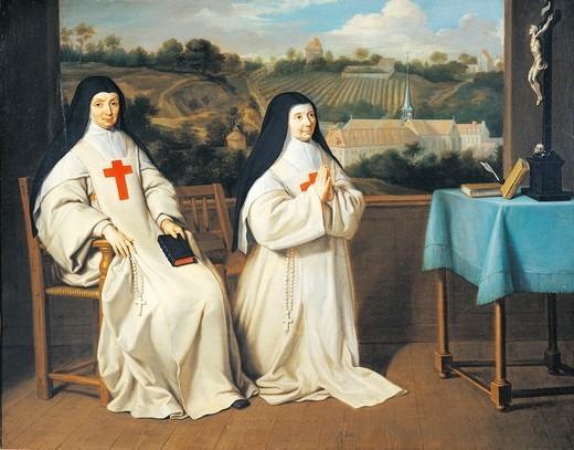 Portrait of Mother Marie-Angelique Arnauld's sister and mother Agnes in front of Port-Royal des Champes Abbey, attributed to Philippe de Champaigne (1602-1670). : Stock Photo