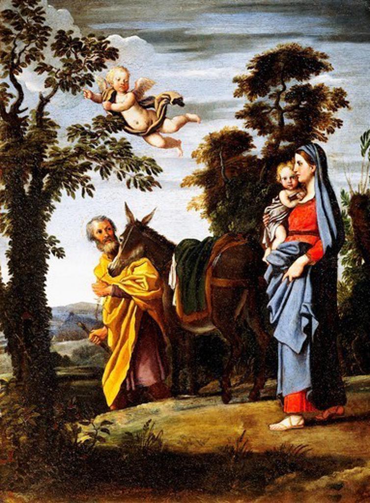 Flight into Egypt, by Domenichino (1581-1641), oil on copper, 41x31 cm. : Stock Photo