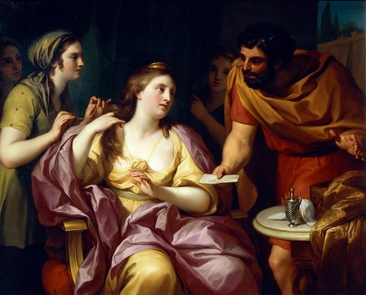Stock Photo: 1788-51193 Semiramis welcomes the news of the revolt of Babylonian, 1755, by Anton Raphael Mengs (1728-1779), oil on canvas, 105.5x137 cm.
