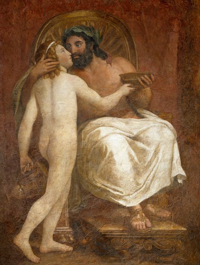 Stock Photo: 1788-51201 Jupiter kissing Ganymede, 1760, by Anton Raphael Mengs (1728-1779), fresco detached and placed onto canvas, 187x137 cm.
