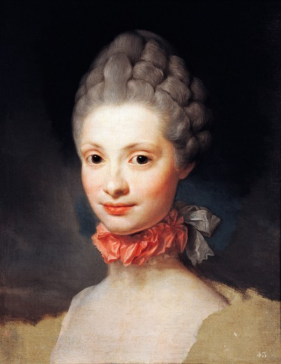 Stock Photo: 1788-51216 Portrait of Maria Luisa di Parma, Princess of Asturias, 1765, by Anton Raphael Mengs (1728-1779), oil on canvas, 47.5 cm x38.