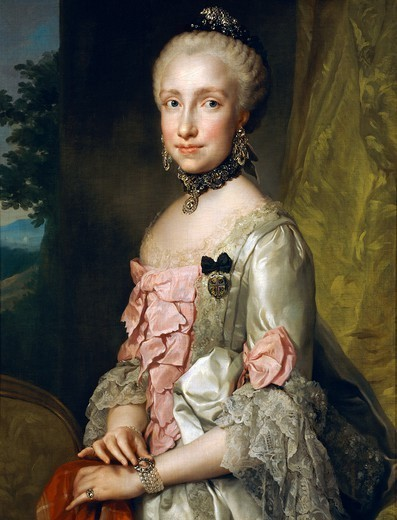 Portrait of Maria Luisa of Bourbon on the occasion of her engagement to be married, ca 1764, by Anton Raphael Mengs (1728-1779), oil on canvas, 85x65 cm. : Stock Photo