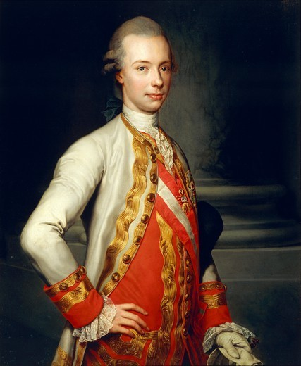 Portrait of Grand Duke Peter Leopold of Tuscany, by Anton Raphael Mengs (1728-1779), oil on canvas, 101x82 cm. : Stock Photo