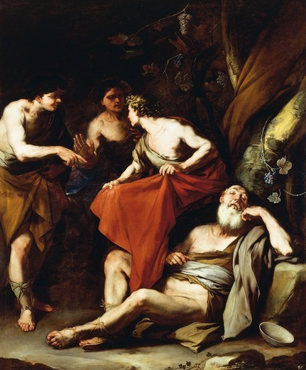 Stock Photo: 1788-51240 The drunkenness of Noah, by Luca Giordano (1634-1705), oil on canvas, 220x190 cm.