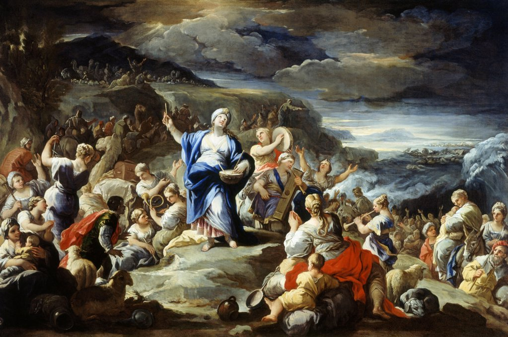 Stock Photo: 1788-51255 The Song of Miriam, by Luca Giordano (1634-1705), oil on copper, 58x84 cm.