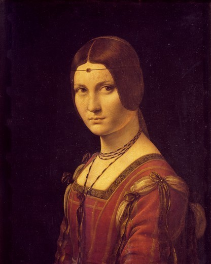 Portrait of a lady, probably Lucrezia Crivelli, 1495-1499, by Leonardo da Vinci (1452-1519), oil on panel, 63x45 cm. : Stock Photo