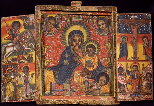 Stock Photo: 1788-51274 St George and the dragon and the apostles on the left, the enthroned Virgin with Child and angels in the center, Jesus being crucified and Jesus risen on the right. Ethiopia, 18th-19th century.