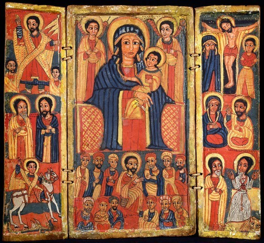 Risen Jesus, the Apostles and St George and the dragon on the left, the Enthroned Virgin with Child and angels and the Last Supper in the center, the crucified Jesus and the apostles to the right. Ethiopia, 18th-19th century. : Stock Photo