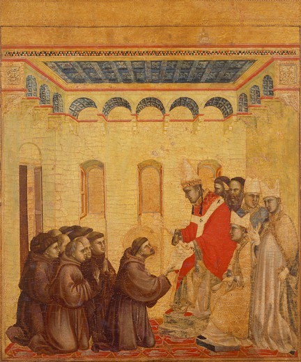 Approval of the Franciscan Rule, detail from the predella from the Stigmata of St Francis, ca 1300, by Giotto (1267-1337), tempera on wood, 313x163 cm. : Stock Photo