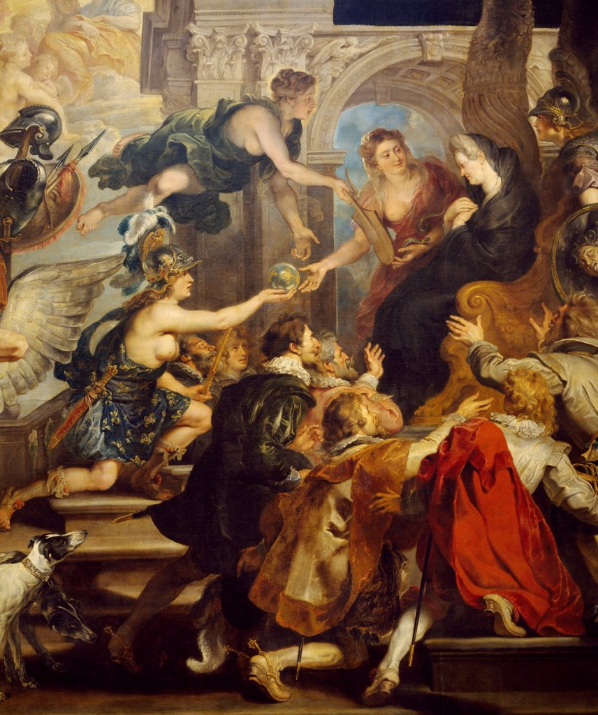Apotheosis of Henry IV, being taken up into heaven, and the proclamation of the reign of Queen, May 14, 1610, 1621-1625, by Peter Paul Rubens (1577-1640). Detail from the Stories of Queen Marie de' Medici, 24 boards on canvas created for the Luxembourg Palace, Paris. : Stock Photo