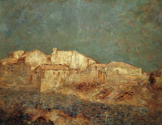 Venetian landscape or The fishing district in Venice, 1908, by Odilon Redon (1840-1916), oil on canvas, 52x67 cm. : Stock Photo