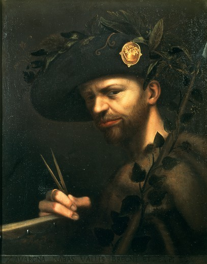 Self-portrait as Abbot of the Vall de Bregn Academy, ca 1560, by Giovanni Paolo Lomazzo (1538-1600), oil on canvas, 56x44 cm. : Stock Photo