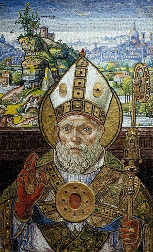 St Zenobius giving a blessing in bishop robes, with the city of Florence in the background, by Giovanni da Monte (active 1557), mosaic of tiles and glass paste. : Stock Photo