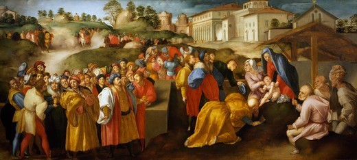 Stock Photo: 1788-51372 The Adoration of the Magi or Epifania Benintendi, by Jacopo da Pontormo (1494-1557).