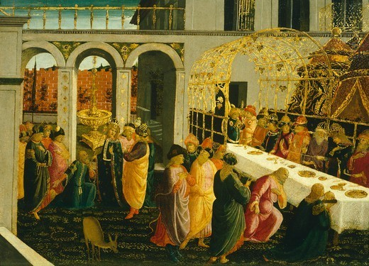 Stock Photo: 1788-51375 The banquet at Ahasuerus, 1490, by Jacopo del Sellaio (1441-1493), tempera on wood, 45x63 cm.