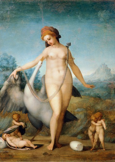 Leda and the Swan, 1512-13, by Jacopo da Pontormo (1494-1557), oil on panel, 55x40 cm. : Stock Photo