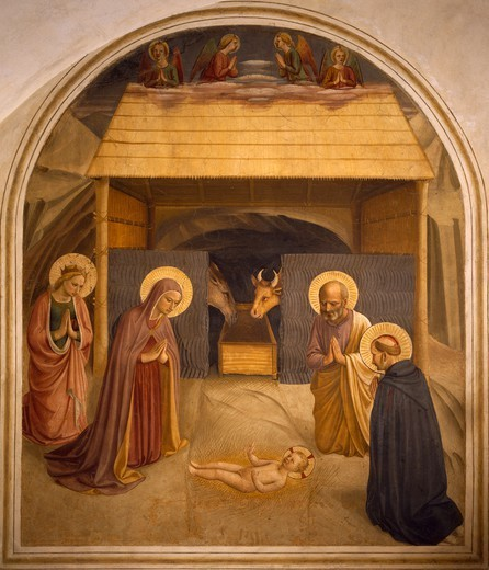 The Nativity, 1438-1455, by Giovanni da Fiesole, known as Fra Angelico (ca 1400-1455), fresco. Cell of Convent of St Mark's, Florence. : Stock Photo