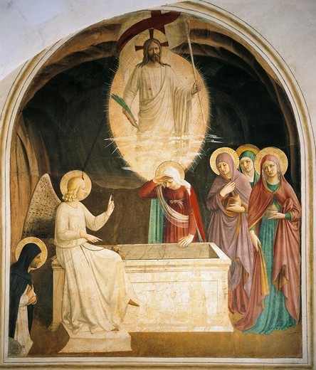Stock Photo: 1788-51385 The resurrection of Christ, 1438-1447, by Giovanni da Fiesole, known as Fra Angelico (ca 1400-1455), fresco. Cell of St Mark's Convent, Florence.
