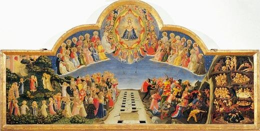 The Last Judgement, 1431, by Giovanni da Fiesole known as Fra Angelico (1400-ca 1455), tempera on wood, 105x210 cm. : Stock Photo