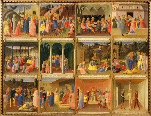 Stock Photo: 1788-51389 Inset depicting the Nativity, panel from the Armadio degli Argenti (Silver Chest) with the life of Jesus, 1451-1453, by Giovanni da Fiesole known as Fra Angelico (1400-ca 1455), tempera on wood.