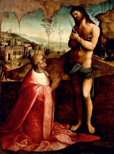 Stock Photo: 1788-51396 Christ Suffering and the cardinal Oliviero Carafa in prayer, by Cesare da Sesto (1477-1523).
