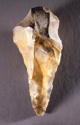Stock Photo: 1788-51510 Bifacial (two-sided) tip dating back to the Acheuleana Era, lithic artifact from Saint Acheul, France. Lower Paleolithic.