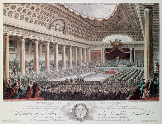 Stock Photo: 1788-51532 Opening of the States-General at Versailles in 1789, engraving by Helmann. French Revolution, France, 18th century.