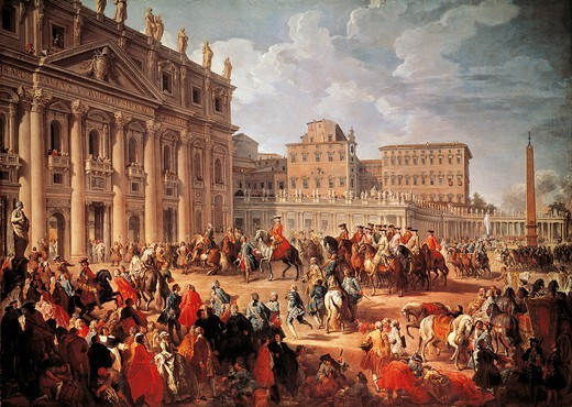 Charles III visiting Saint Peter's Basilica, Rome, 1746, by Giovanni Paolo Pannini (1691-1765), oil on canvas, 123.3x173.5 cm. Italy, 18th century. : Stock Photo