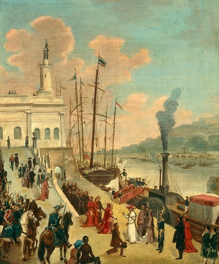 Pope Gregory XVI opens the port of Ripa Grande Rome. Italy, 19th century. : Stock Photo