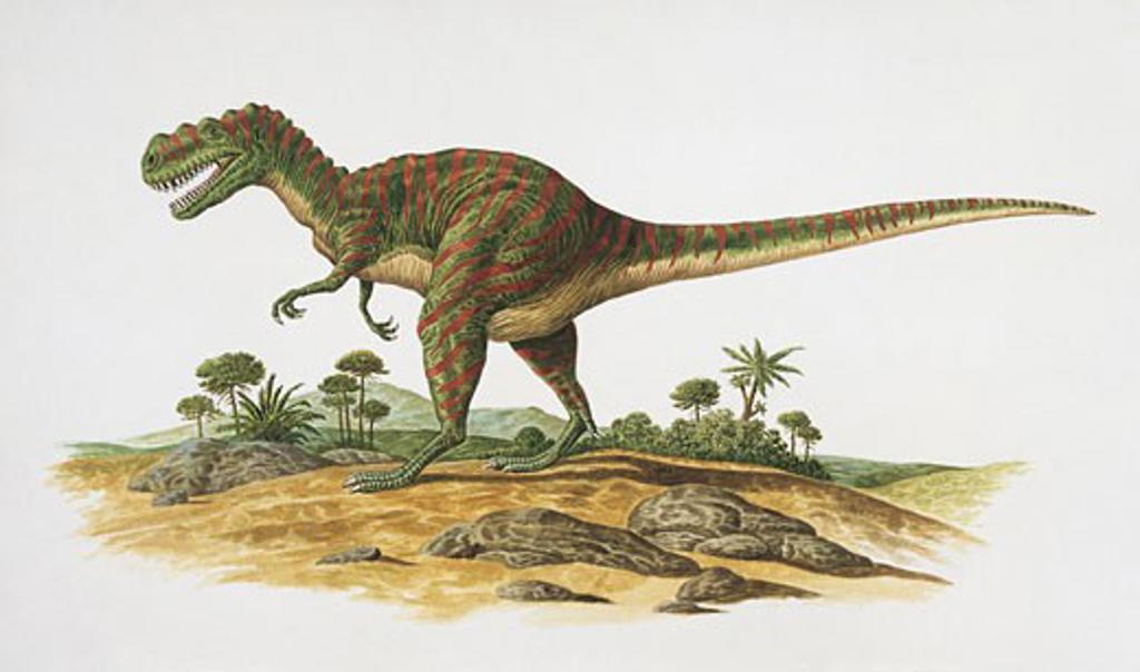 Side profile of a dinosaur on a landscape : Stock Photo