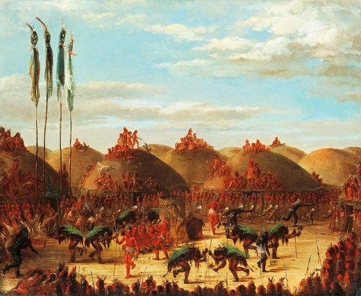 Stock Photo: 1788-51878 Dance of the buffalo at a Mandan okipa ceremony, painting by George Catlin (1796 - 1872). Native American Civilization, United States, 19th century.