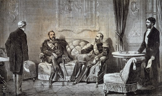 Convention of Reichstadt, meeting between Tsar Alexander II of Russia and Emperor Franz Joseph I of Austria, July 8, 1876, engraving. Russo-Turkish War, Czech Republic, 19th century. : Stock Photo