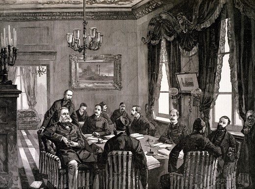 Stock Photo: 1788-51927 A meeting of the European Conference of Constantinople, print from Illustrated London News magazine, 1885. Serbian-Bulgarian War, Turkey, 19th century.
