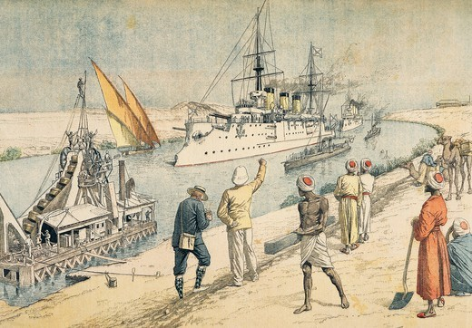 The Russian battleship Osliablia crossing the Suez Canal, followed by the cruisers, print from Petit Journal magazine. Russo-Japanese War, Egypt, 20th century. : Stock Photo