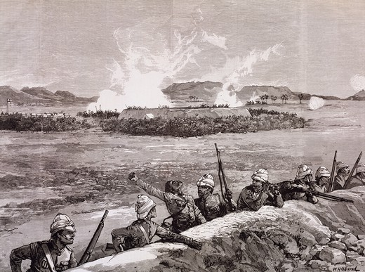 British troops withdrawing from Metemmeh Korti, March 1885, print taken from The Illustrated London News. Colonial wars, Sudan, 19th century. : Stock Photo