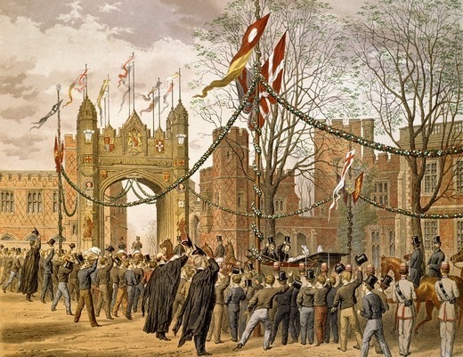 Stock Photo: 1788-52133 Prince of Wales and Alexandra of Denmark's wedding, 1863, the procession passing Eton College. Victorian age, England, 19th century.